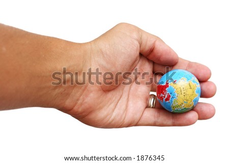 Hand holding out globe over white - stock photo