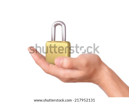 hand holding padlock. security concept - stock photo