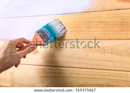 Hand Holding Paint Brush Painting On Stock Photo (Royalty Free ...