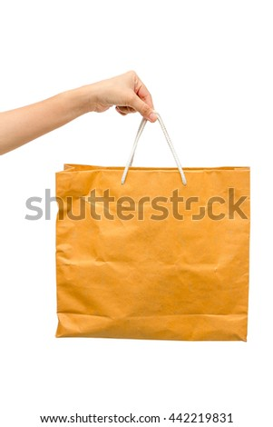 Hand holding paper bag isolated on white background - stock photo