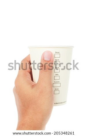 hand holding Paper cup of coffee and menu on white background