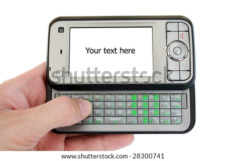 Hand holding pda mobile device with empty place on screen for text