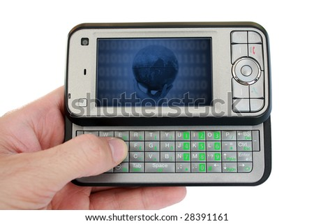 Hand holding pda mobile device with image on screen - stock photo