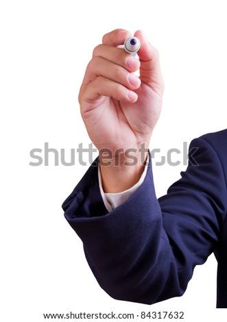 hand holding pen isolated - stock photo