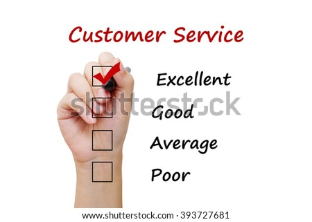 Hand holding pen over customer service check list background, business concept