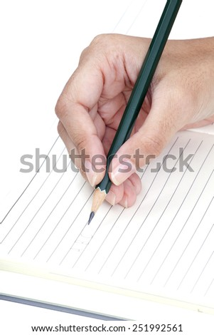 Hand holding pencil and drawing, isolated on white.