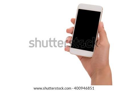 hand holding phone isolated on white background - stock photo