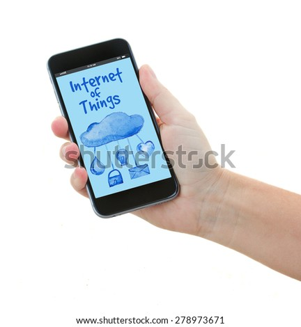 hand holding phone with internet of things screen isolated on white background