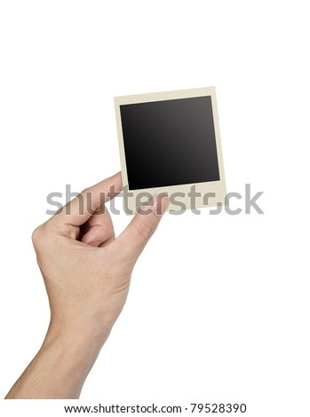 hand holding photo frame isolated on white
