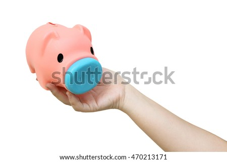 hand holding piggy bank ,isolate white background with clipping path