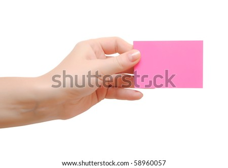 hand holding pink note isolated on white