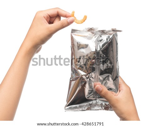 hand holding plastic bag snack packaging isolated on white background - stock photo