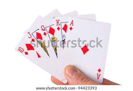 hand holding playing cards on white - stock photo