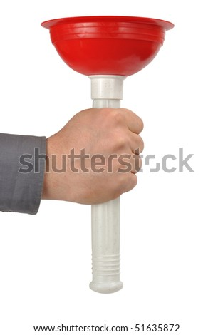 Hand holding plunger isolated on white background