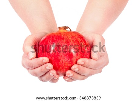 hand holding pomegranate isolated in white