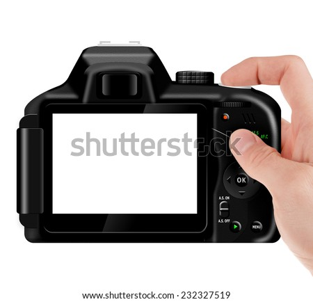 Hand holding professional, digital SLR camera (dSLR) with empty LCD screen (taking pictures) isolated on white - stock photo