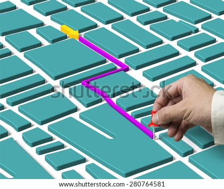 Hand holding pushpin located and map route search concept - stock photo