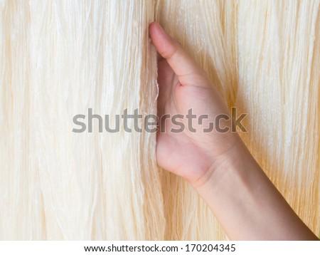 hand holding raw silk - stock photo