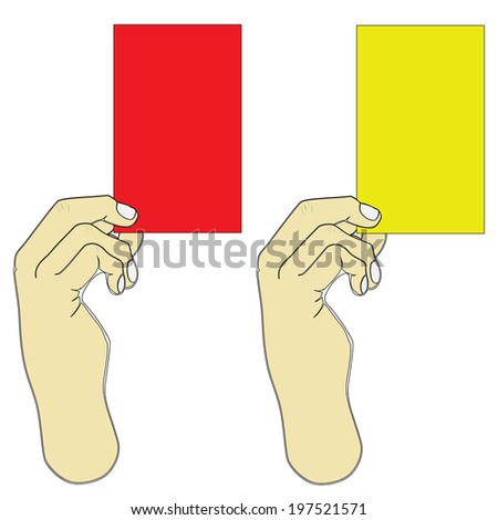 Hand holding red and yellow card on a white background. - stock photo