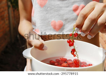 hand holding red currants and white bowl full of raspberries - stock photo