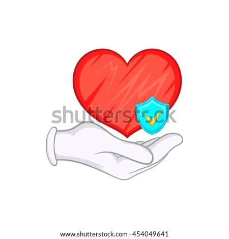 Hand holding red heart and sky blue shield with tick icon in cartoon style on a white background - stock photo