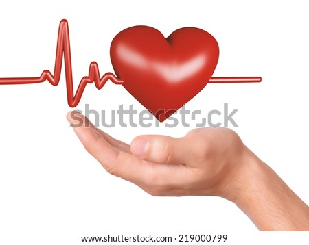hand holding red heart. healthcare and medicine concept - stock photo
