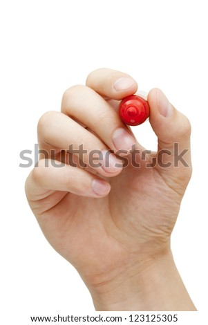 Hand holding red marker isolated on white with copy space. - stock photo