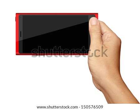 Hand holding Red Smartphone in horizontal on white background - stock photo