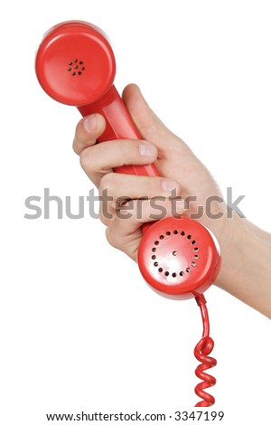 hand holding red telephone a over white background