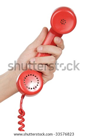 hand holding red telephone a over white background - stock photo