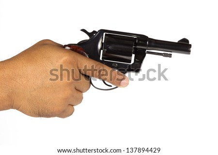 Hand holding revolver on a white background