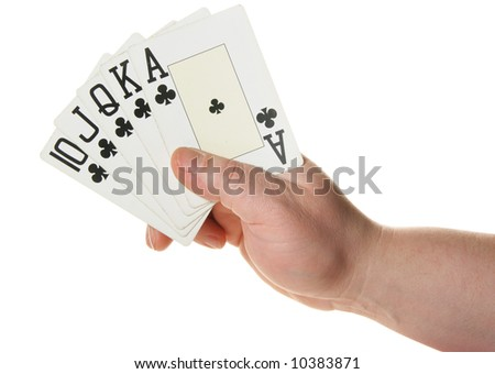 Hand holding Royal flush - highest poker hand isolated over white background