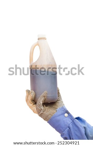 hand holding sample oil isolated white background - stock photo