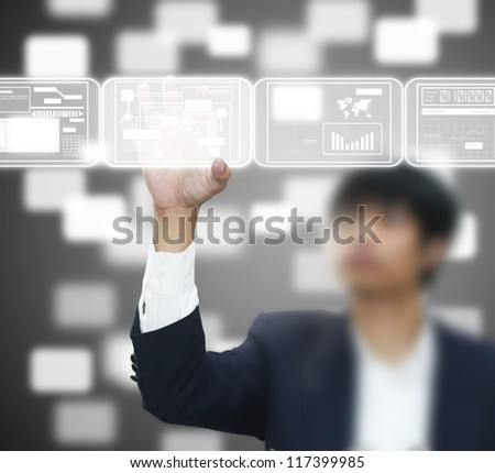 Hand holding screen - stock photo