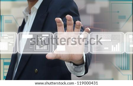 Hand holding screen - stock photo