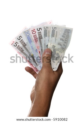 Hand holding several euro notes