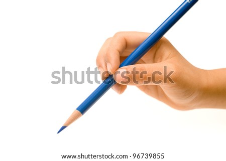 Hand holding sharpened blue pencil crayon isolated on white - stock photo