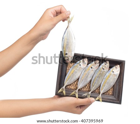 hand holding Small fishes on bamboo woven tray isolated on white background