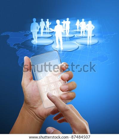 Hand holding smart phone - stock photo