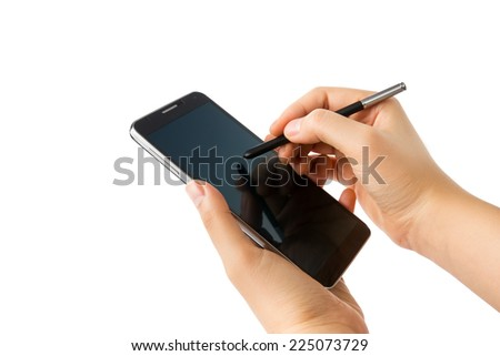 Hand holding smart phone and touch pen writing on screen isolated on white background. - stock photo