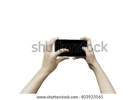 hand holding smart phone blank screen and touch on screen on white background - stock photo