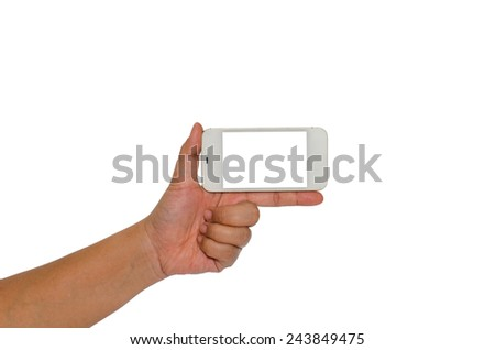 Hand holding smart phone isolated on white background