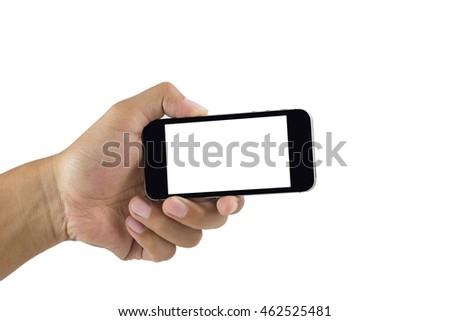 Hand holding smart phone isolated on white background. Smart phone with blank screen and can be add your texts or others on smart phone.Smart phone concept.