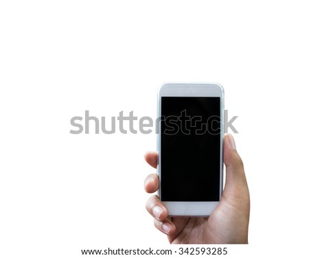 Hand holding smart phone isolated over white background - mockup template - stock photo