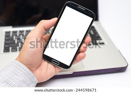 Hand holding smart phone (Mobile Phone) - stock photo