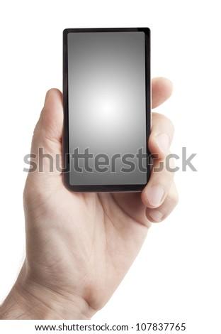 Hand holding smart phone on white - stock photo