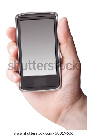 Hand holding smart phone on white - stock photo