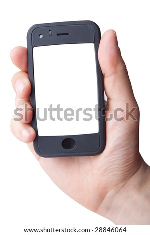 Hand holding smart phone on white (LCD screen has clipping path) - stock photo