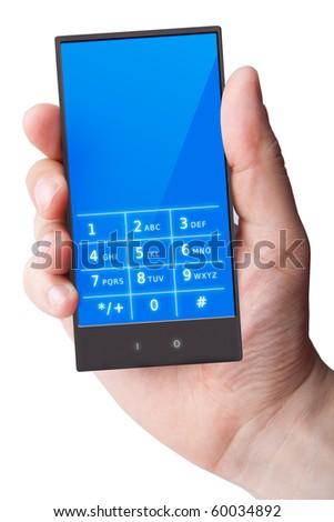 Hand holding smart phone on white (original design) - stock photo