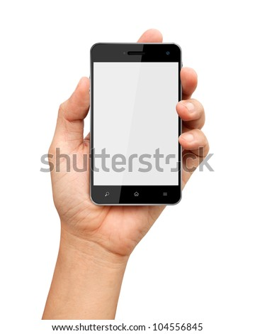 Hand holding smart phone with blank screen on white background - stock photo